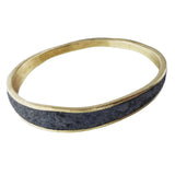 David Urso Bronze Slate Quartz Wave Bangle Bracelet Another View
