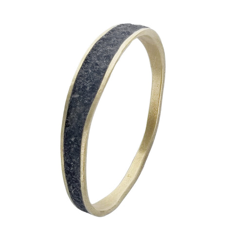 David Urso Bronze Slate Quartz Wave Bangle Bracelet