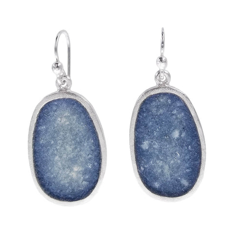 David Urso Silver Gray Quartz Oval Earrings