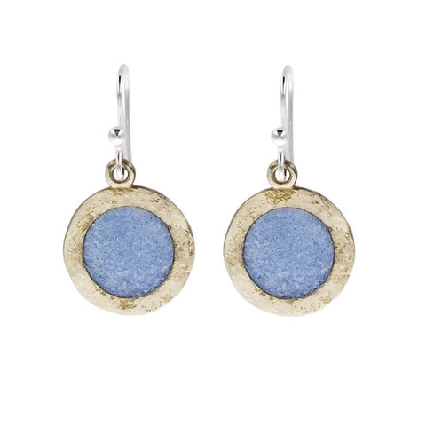 David Urso Sky Blue Bronze Earrings