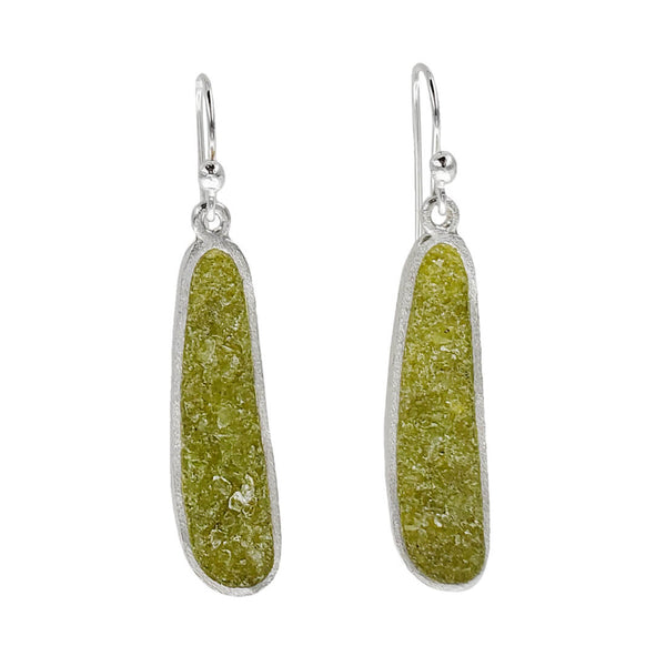 David Urso Soft Green Peridot Slab Earrings