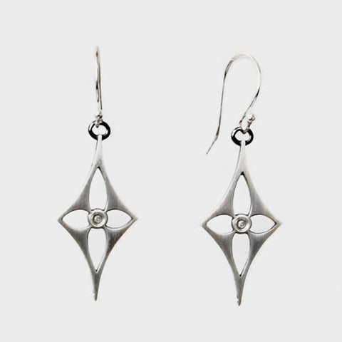 Diamond Shaped Sterling Flower Earrings