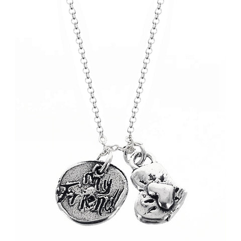 I Love My Dog Heart Paw My Friend Necklace