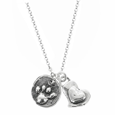 I Love My Dog Heart Paw Necklace