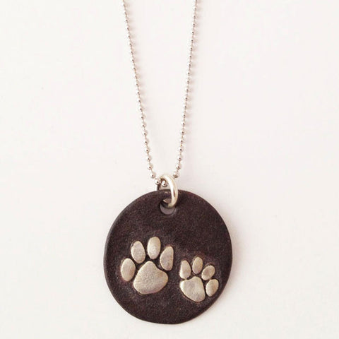Sterling Dog Paws Black Patina Necklace