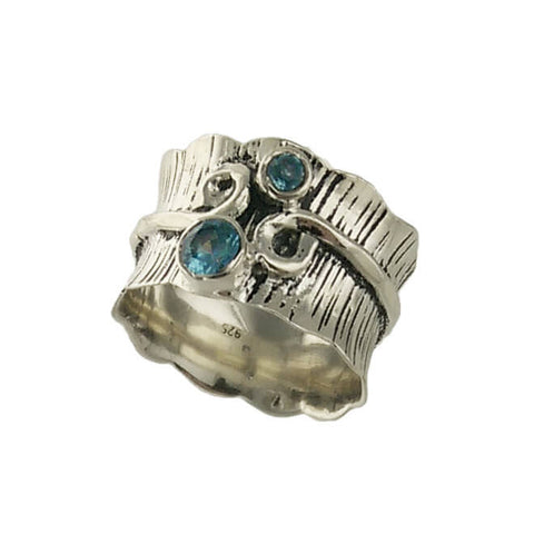 Double Blue Topaz Sterling Silver Etched Band Ring Second View