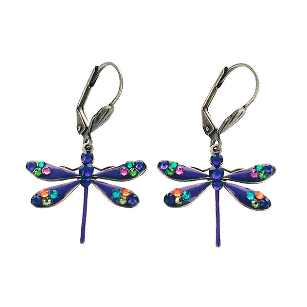 Crystals Purple Dragonfly Earrings