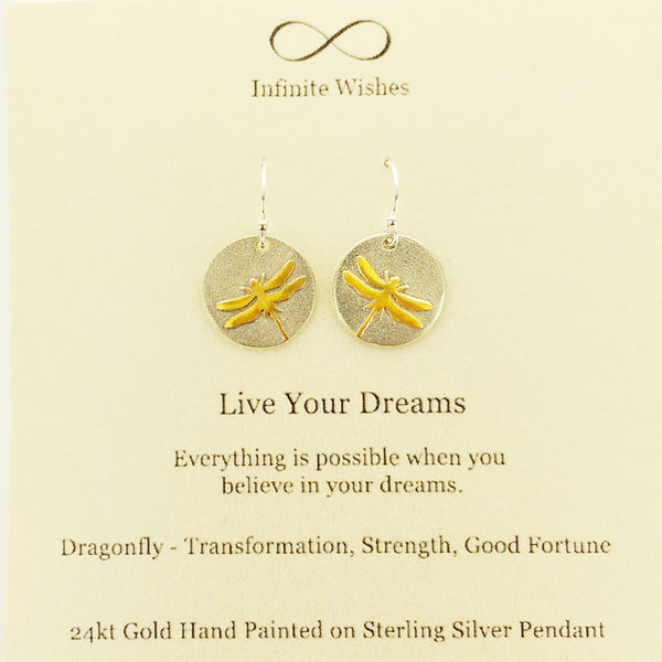 Live Your Dreams Dragonfly Earrings On Quote Card