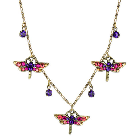 Three Dragonfly Purple Pink Crystals Necklace