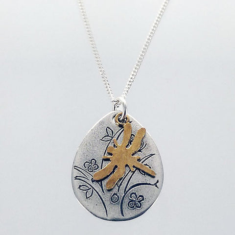 Dragonfly Over Etched Tree Necklace