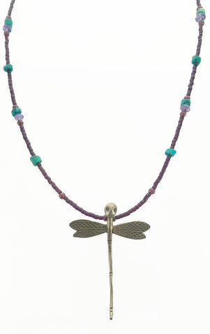 Dragonfly With Turquoise Beads Necklace