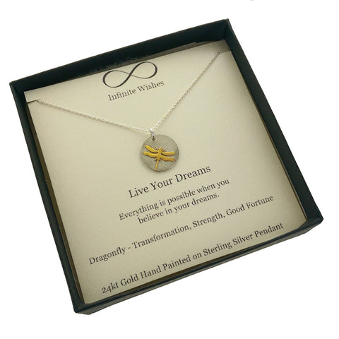 Live Your Dreams Dragonfly Necklace In Gift Box