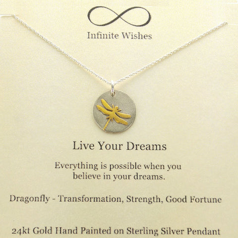 Live Your Dreams Dragonfly Necklace On Quote Card