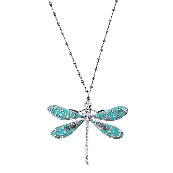Dragonfly Sea Blue Pendant Necklace