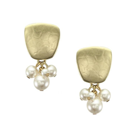 Marjorie Baer Golden Pearl Cluster Clip Earrings