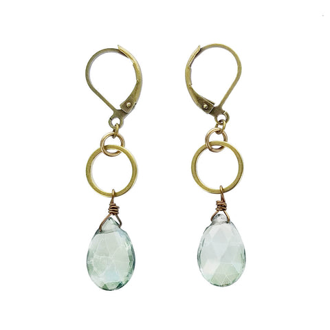 Edgy Petal Circle Green Quartz Teardrop Earrings