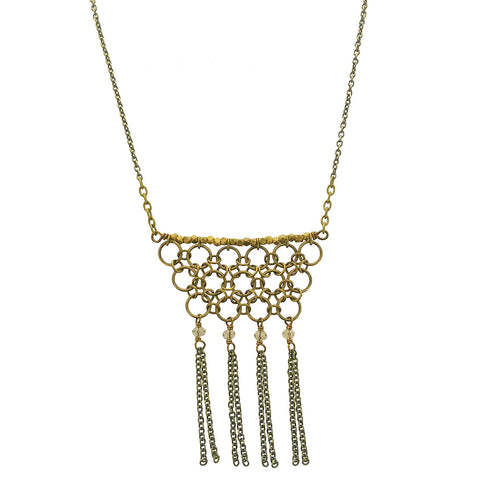 Edgy Petal Circle Maille Tassel Necklace