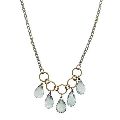Edgy Petal Green Quartz Drop Necklace