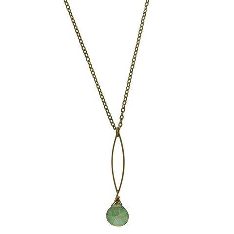 Edgy Petal Green Quartz Marquis Necklace