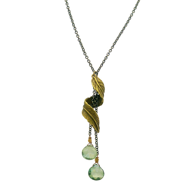 Edgy Petal Green Quartz Spiral Feather Necklace