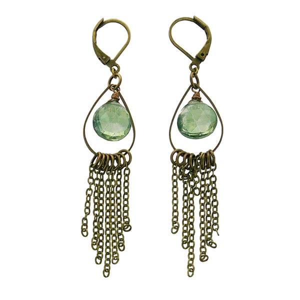 Edgy Petal Green Quartz Teardrop Fringe Earrings