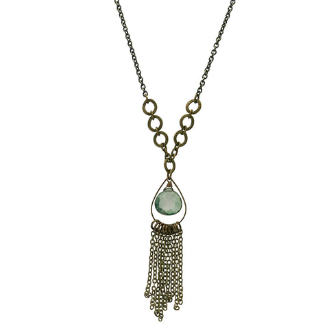 Edgy Petal Green Quartz Chain Tassel Necklace