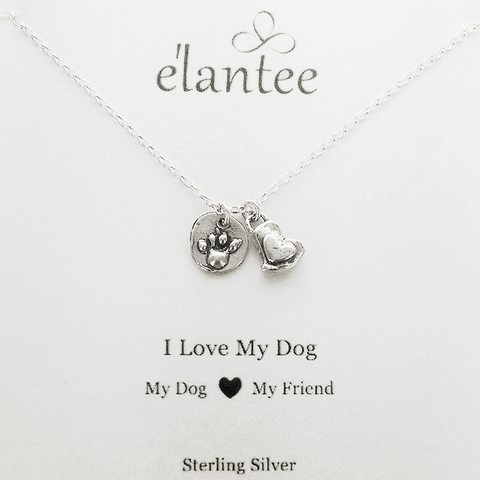 "I Love My Dog ""My Friend"" Heart Paw Necklace on Quote Card"