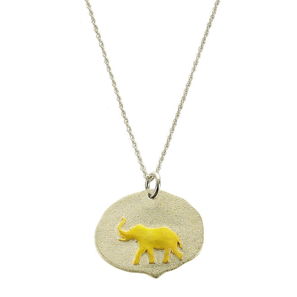 Elephant Gold On Sterling Necklace