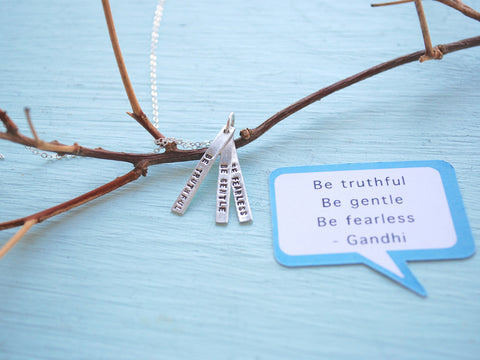 Fearless Truthful Gentle Ghandi Quote Necklace On Branch