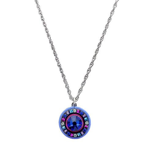 Firefly Designs Round Bermuda Blue Pendant Necklace
