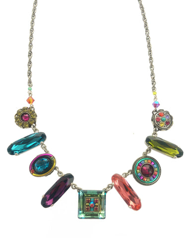 Firefly Mosaic Colorful Shapes Necklace