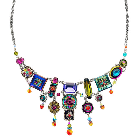 Firefly Elaborate Colorful  Mosaic Crystal Necklace