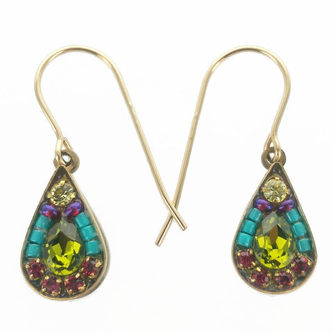 Firefly Mosaic Petite Green Crystal Teardrop Earrings