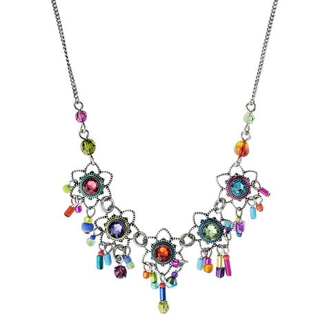 Firefly Mosaic Colorful Five Flowers Necklace