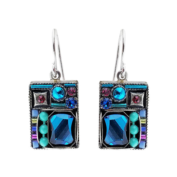 Firefly Mosaics Bermuda Blue Square Crystal Earrings