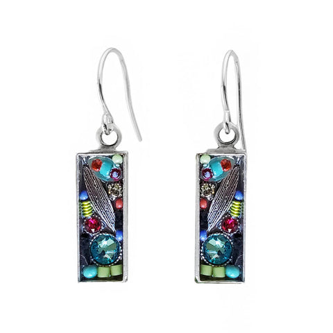 Firefly Mosaics Colorful Crystal Rectangular Leaf Earrings