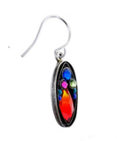 Firefly Oval Mosaic Colorful Drop Earrings Sideview