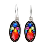 Firefly Oval Mosaic Colorful Drop Earrings