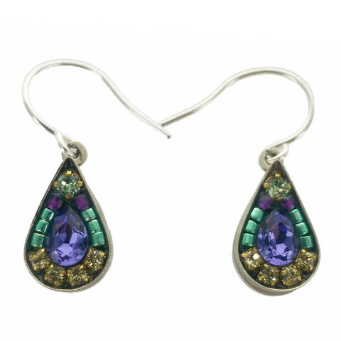Firefly Mosaic Amethyst Crystal Teardrop Earrings