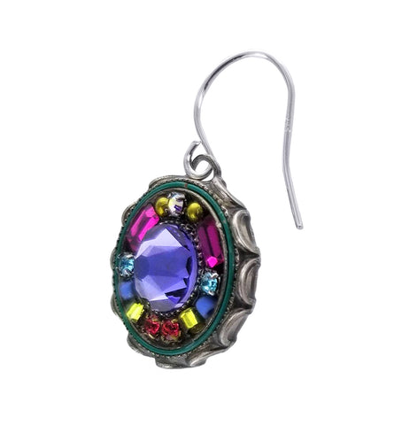 Firefly Round Colorful Mosaic Tanzanite Earrings Side View