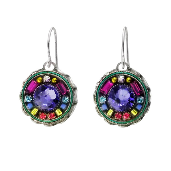 Firefly Round Colorful Mosaic Tanzanite Earrings