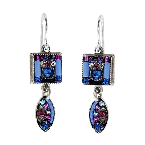 Firefly Soft Blue Square Oval Mosaic Drop Earrings