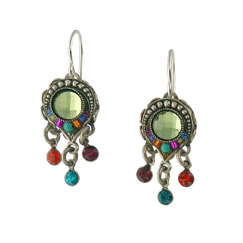 Firefly Colorful Triple Drop Circle Earrings