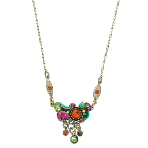 Firefly Triple Drop Multicolor Crystal Cornucopia Necklace