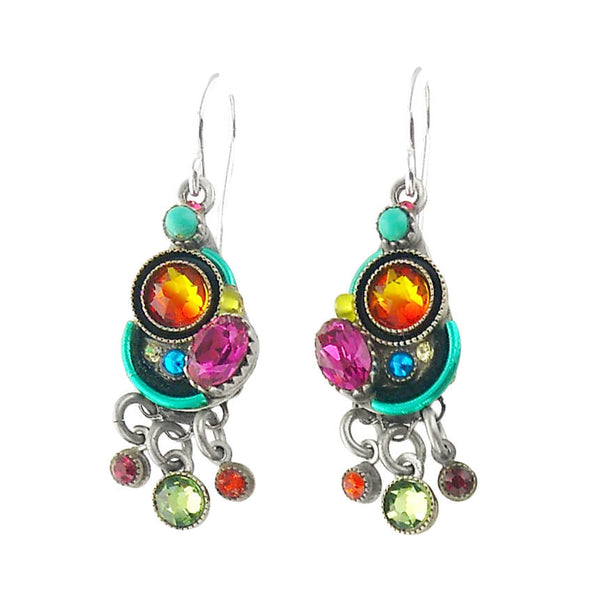 Firefly Triple Drop Multicolor Crystal Teardrop Earrings