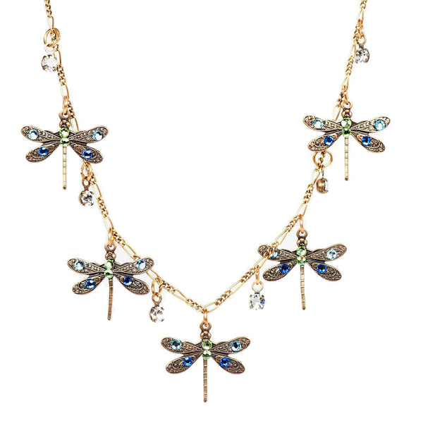 Five Dragonfly Crystals Necklace