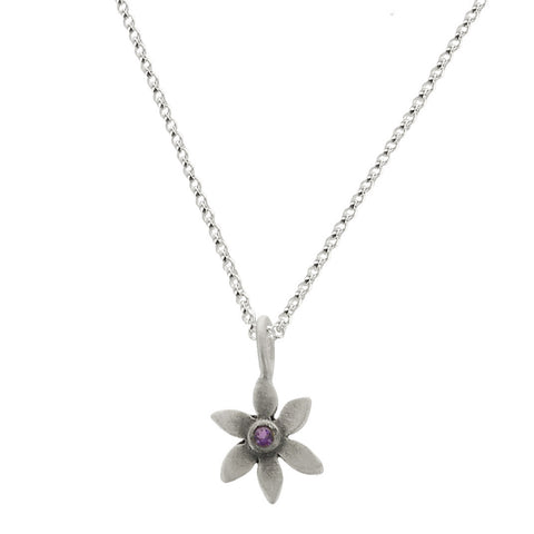 Flower Sterling Silver Necklace with Amethyst