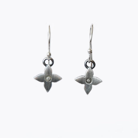 Petite Sterling Diamond Flower Earrings