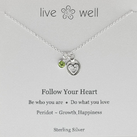 Follow Your Heart Inspirational Charm Necklace
