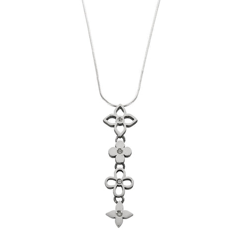 Four Diamond Flowers Pendant Necklace
